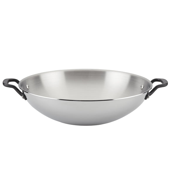 KitchenAid 5-Ply Clad Stainless Steel Wok, 15-Inch, Polished Stainless Steel
