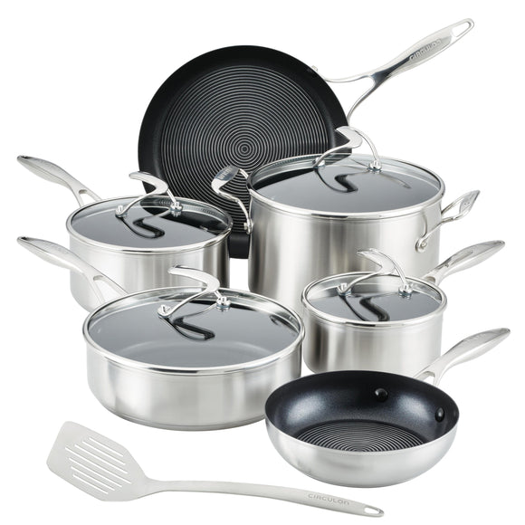 Circulon SteelShield S-Series Stainless Steel Nonstick Pots and Pans Cookware Set with Bonus Utensil, 10-Piece, Silver