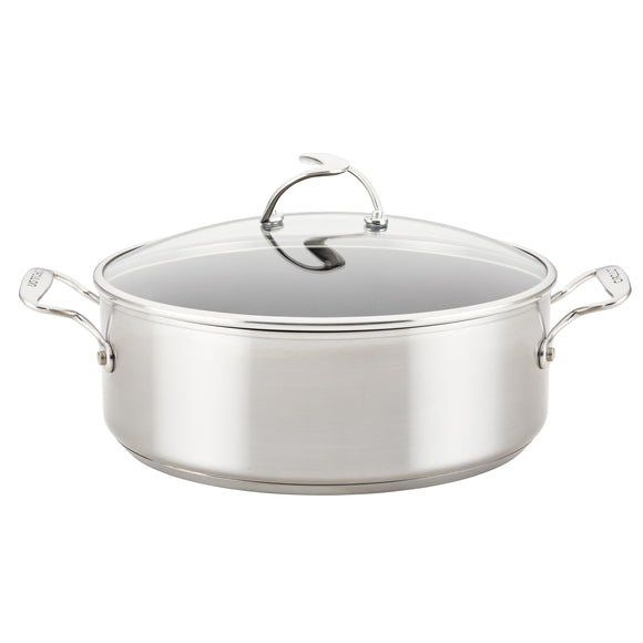 Circulon SteelShield S-Series Stainless Steel Nonstick Stockpot with Lid, 7.5-Quart, Silver