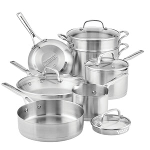 KitchenAid 3-Ply Base Stainless Steel Cookware Set, 11-Piece, Brushed Stainless Steel