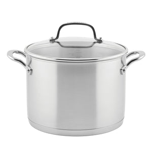 KitchenAid 3-Ply Base Stainless Steel Stockpot with Lid, 8-Quart, Brushed Stainless Steel