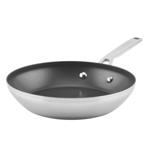 KitchenAid 3-Ply Base Stainless Steel Nonstick Frying Pan, 9.5-Inch, Brushed Stainless Steel