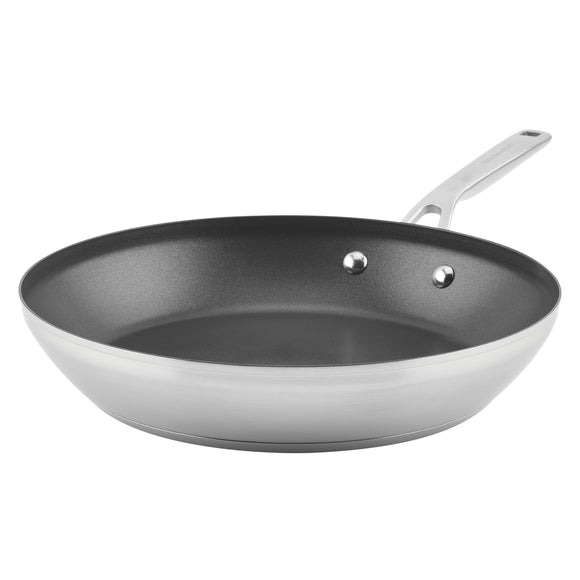 KitchenAid 3-Ply Base Stainless Steel Nonstick Frying Pan, 12-Inch, Brushed Stainless Steel