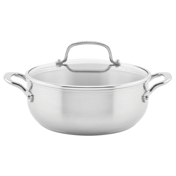 KitchenAid 3-Ply Base Stainless Steel Casserole with Lid, 4-Quart, Brushed Stainless Steel