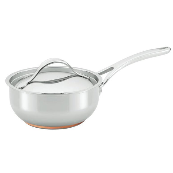 Anolon Nouvelle Copper Stainless Steel 2.5Qt Covered Saucier