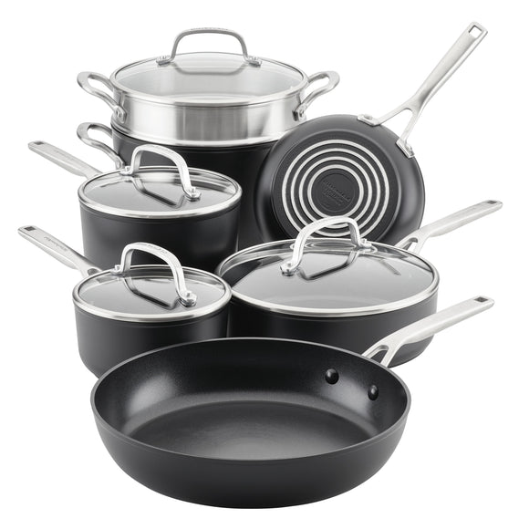 KitchenAid Hard-Anodized Induction Nonstick Cookware Set, 11-Piece, Matte Black