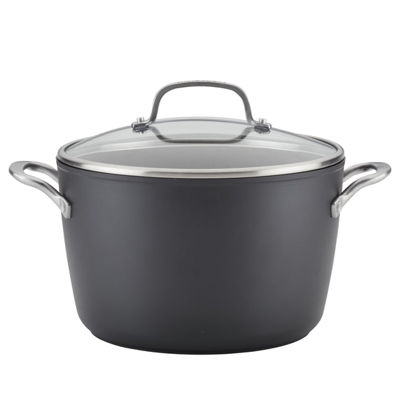 KitchenAid Hard-Anodized Induction Nonstick Stockpot with Lid, 8-Quart, Matte Black