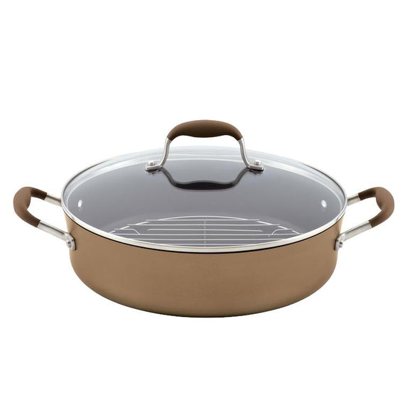 Anolon Advanced Bronze 5.5Qt Covered NonStick Braiser with Rack