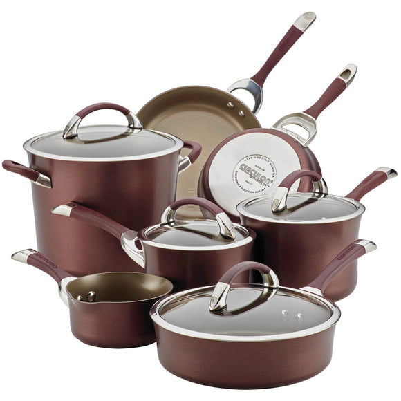 Circulon Symmetry Hard Anodized Nonstick 11-Piece Cookware Set, Merlot