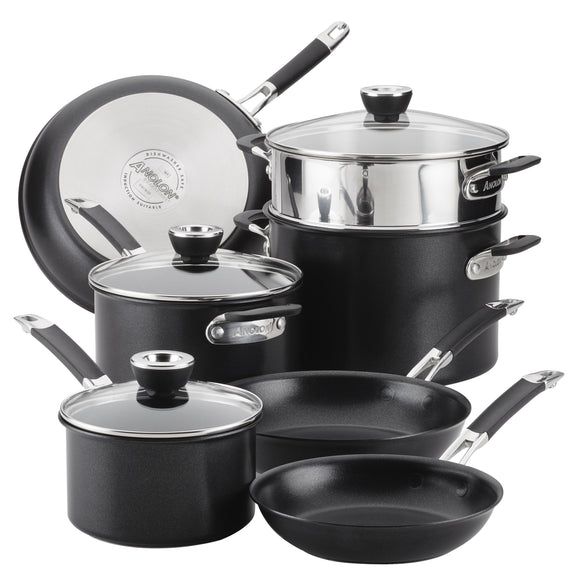 10pc Anolon SmartStack Hard Anodized Nesting Cookware Set