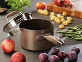 Anolon Advanced Bronze 2Qt Covered Straining Pot with pouring spouts