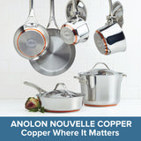 Anolon Nouvelle Copper 10pc Set Stainless Steel 5-ply copper base