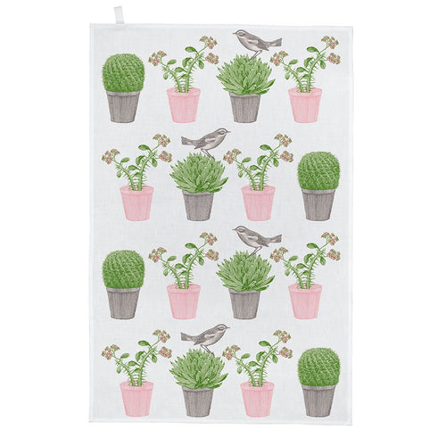 Cactus and Bird Tea Towel
