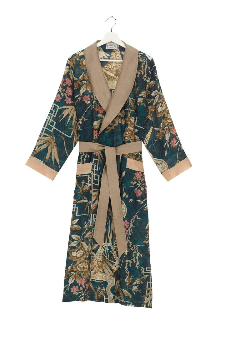 One Hundred Stars Bamboo Teal Dressing Gown