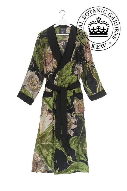 One Hundred Stars Black Passion Flower Dressing Gown