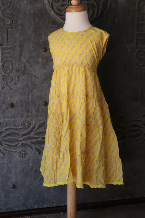 Girls Yellow Wrap Dress