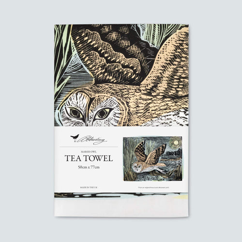 Angela Harding March Owl Tea Towel