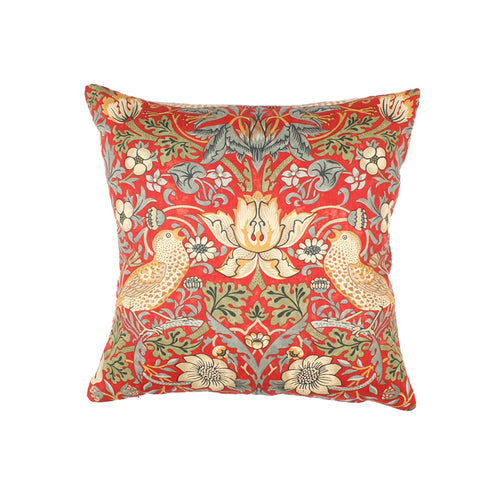 Red William Morris Strawberry Thief Cushion
