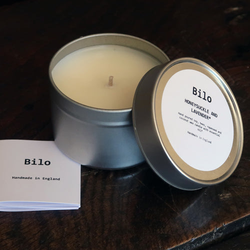 Bilo Travel Candle in a Tin- Honeysuckle & Lavender