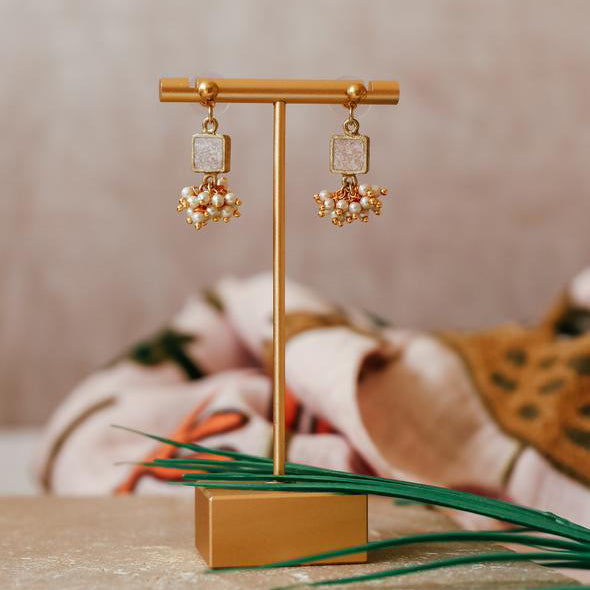 Champagne Pearl Cluster Drop Earrings