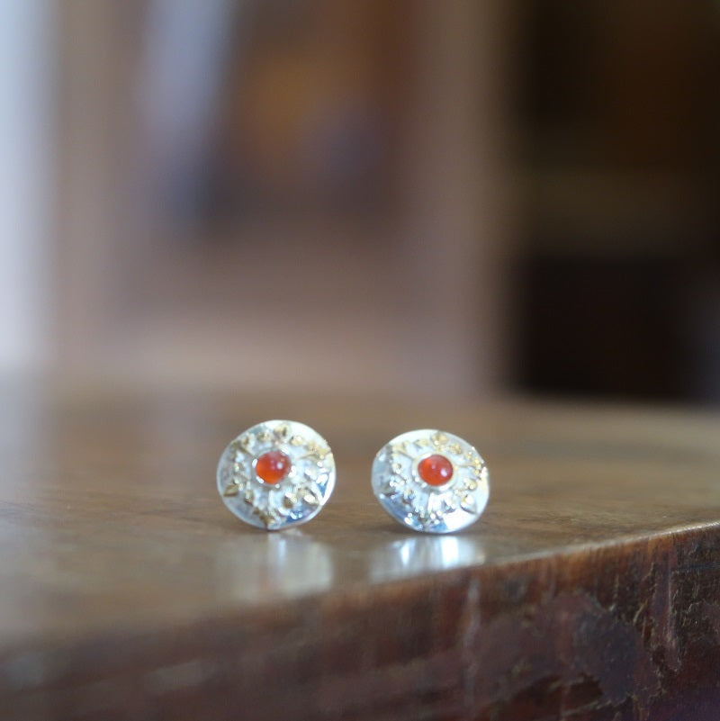 Silver and Cornelian Stud Earrings