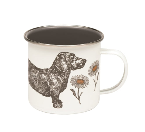 Dog and Daisy Enamel Mug