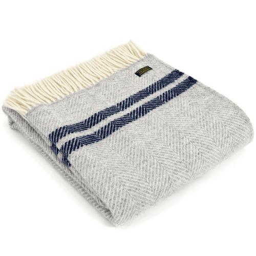 Fishbone Throw Grey with Navy Stripes