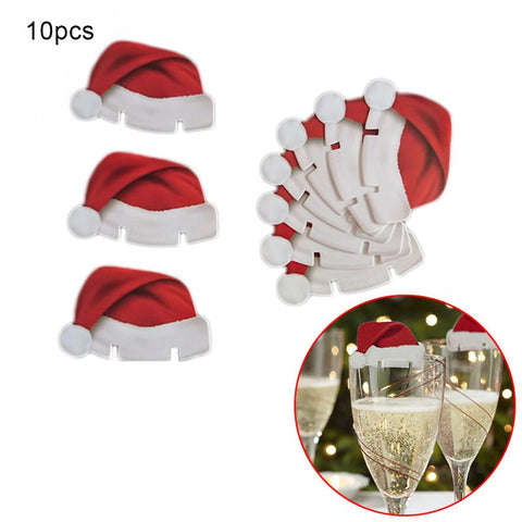 Christmas Hats for Champagne Glasses 10pcs