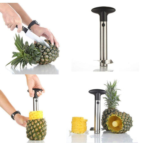 Silver Stainless Steel Pineapple Peeler, Corer, Slicer