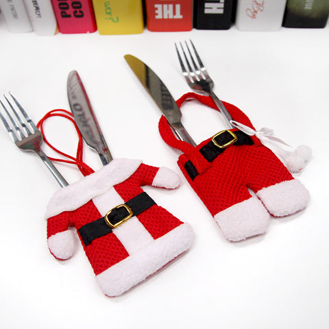 Christmas Santa Suit Tableware Holder 3 Sets