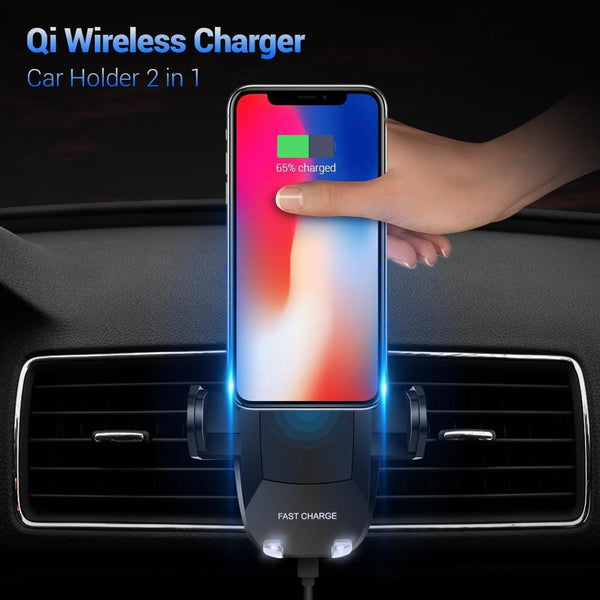 save off 1ca9a 4495b Car Qi Wireless Charger For Iphone X 10 8 Plus 5V/2A Fast Charging 360  Rotation Car Holder For Samsung Note 8 S8 S7 Edge
