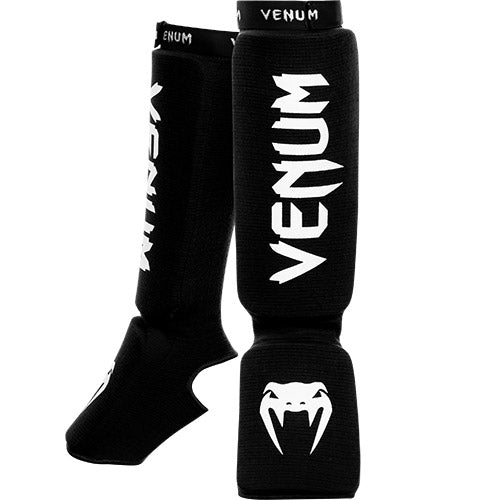 Venum Kontact Shinguards-Black/White