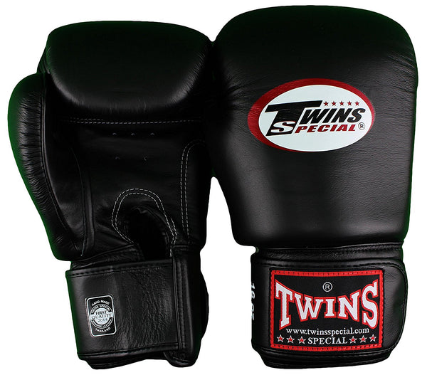Twins Velcro Boxing Gloves - Black