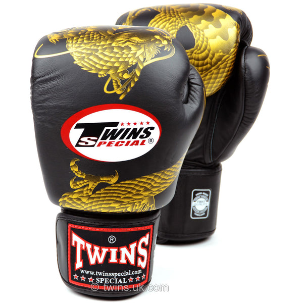 Twins Black-Gold Dragon Boxing Gloves