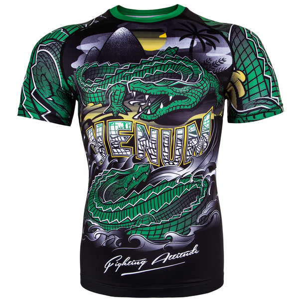 Venum Crocodile Rashguard - Short Sleeves - Black/Green