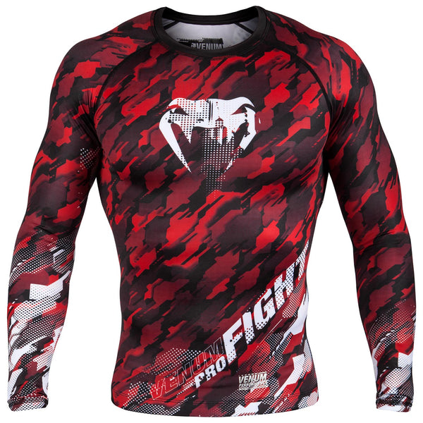Venum Tecmo Rashguard - Long Sleeves - Red/White
