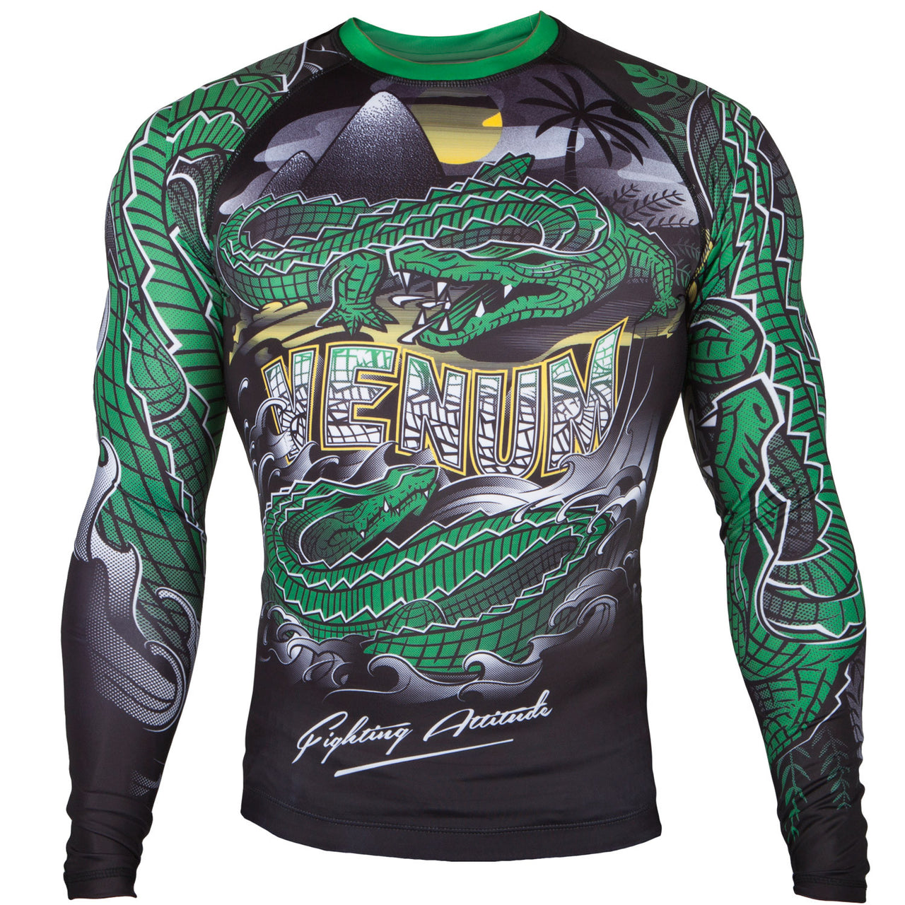 Venum Crocodile Rashguard - Long Sleeves - Black/Green