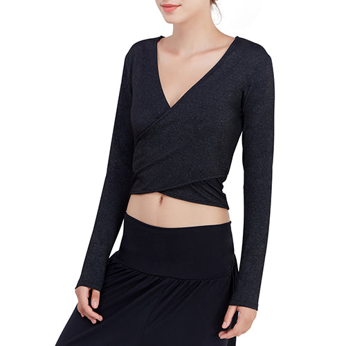 Reversible Design Women Long Sleeves Deep V-neck Cross Wrap Yoga Shirt