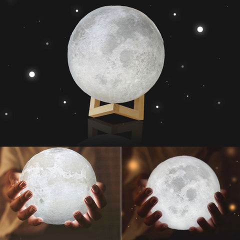 3D LED Moon Night Light with Base