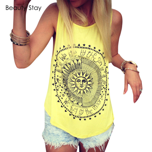 Sun and Moon Printed Women Tank Tops