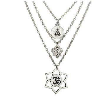 Multilayer Lotus Yoga Om Pendant Necklace