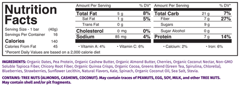 Rewind Superbar Nutrition Facts