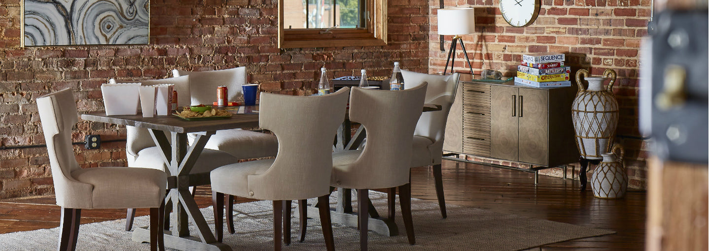 Living room with Cudo's Cinnamon Dining Chairs
