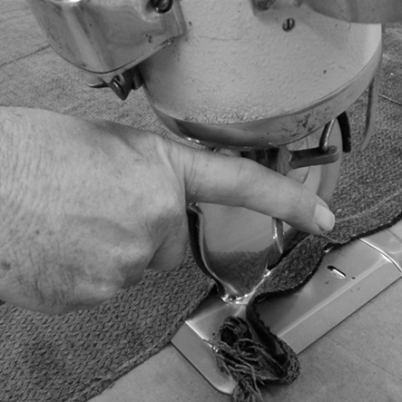 Cudo Dining Chair Performance Fabric being sewn on plant floor
