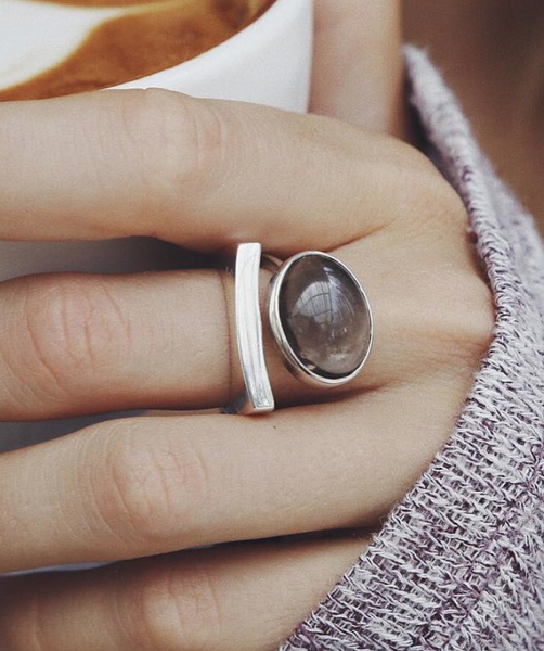 Ring Cloud with Smoky Quartz - Island Soul Silver Jewelry from Bali