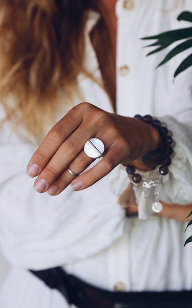 White Mother of Pearl and Silver Line Ring