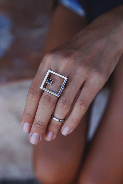 Black Zircon Square Ring