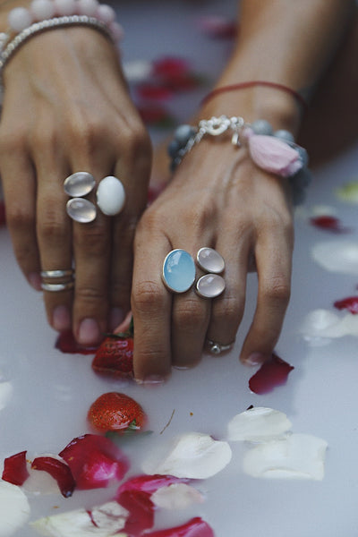 Ring with Blue Сhalcedony and Rose Quartzes - Island Soul Silver Jewelry from Bali