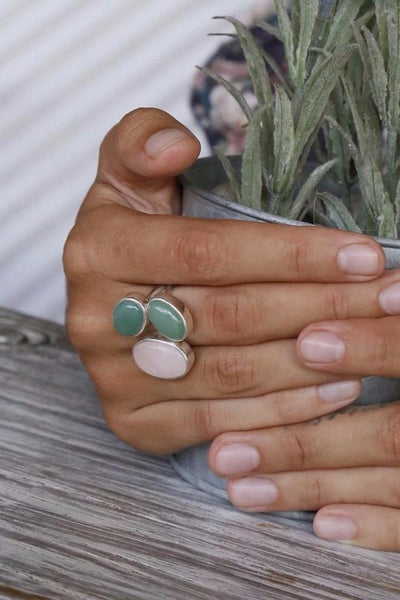 Ring with Rose Quartz Two Green Chrysoprases - Island Soul Silver Jewelry from Bali