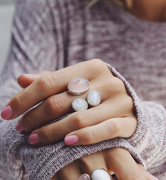 Ring with Rose Quartz and Moonstones - Island Soul Silver Jewelry from Bali